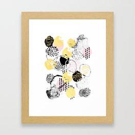 Amalia - gold abstract black and white glitter foil art print texture ink brushstroke modern minimal Framed Art Print