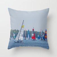 racing Throw Pillows featuring Racing by Nonna Originals