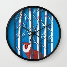 Red Snow Wall Clock