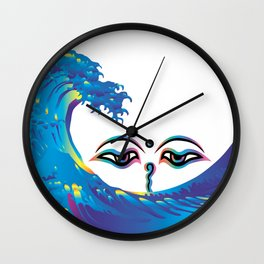 Hokusai Rainbow & Eyes of God of India Wall Clock