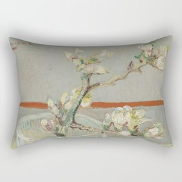Sprig of Flowering Almond in a Glass Rectangular Pillow