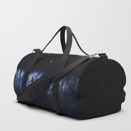 Contrail moon on a night sky Duffle Bag