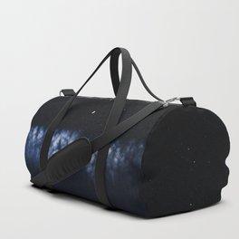 Contrail moon on a night sky Duffle Bag