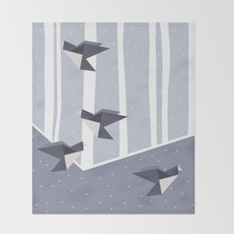 Elegant Origami Birds Abstract Winter Design Throw Blanket