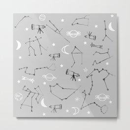 Astrology Pattern Grey #homedecor Metal Print