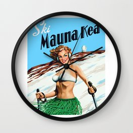 Ski Mauna Kea Wall Clock