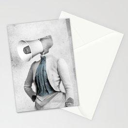 Lady Megaphone Stationery Cards