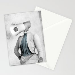 Lady Megaphone Stationery Cards