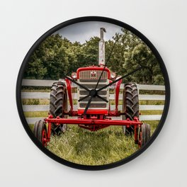 IH 240 Red International Farmall Tractor Front View Wall Clock