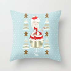 Merry Lady Christmas Cupcake Throw Pillow