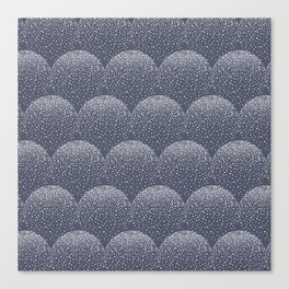 White and blue scalloped dots geometric pattern Canvas Print