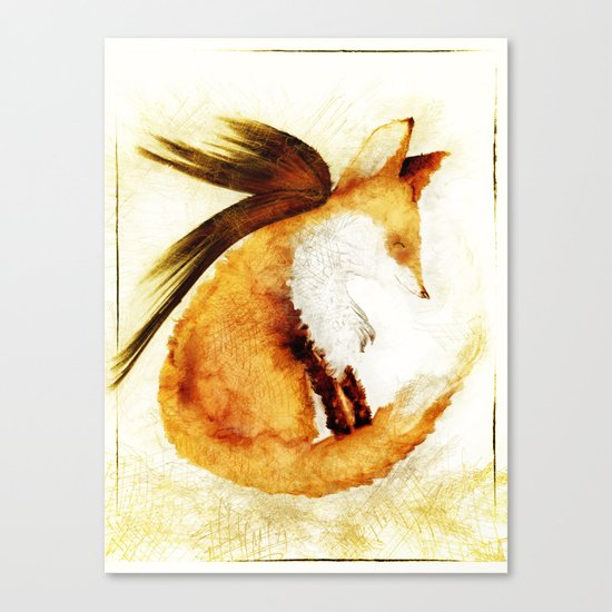 Winged Fox Sleeping Canvas Print