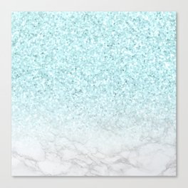 Turquoise Glitter and Marble Canvas Print