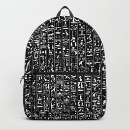 Hieroglyphics B&W INVERTED / Ancient Egyptian hieroglyphics pattern Backpack