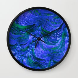 Waves Of Blue Fractal Wall Clock