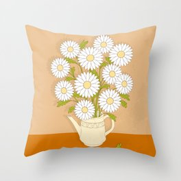 bouquet of white camomiles in the vase Throw Pillow
