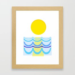 Abstract Sun over Water Seascape Framed Art Print