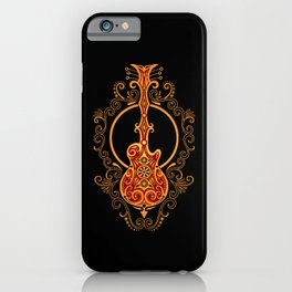 Intricate Red and Yellow Electric Guitar Design iPhone Case