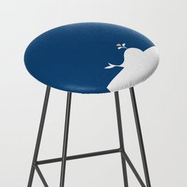 Whale in Blue Ocean with a Love Heart Bar Stool