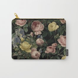 Vintage Roses and Iris Pattern - Dark Dreams Carry-All Pouch