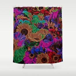 Neon Flowers in the Dark 2 Shower Curtain