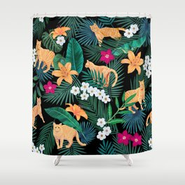 Ginger Cats in the Jungle Shower Curtain
