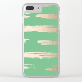 Abstract Paint Stripes Gold Tropical Green Clear iPhone Case