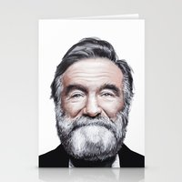 robin williams Stationery Cards featuring A tribute to Robin Williams by Antoine Dutilh