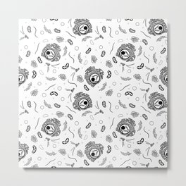 Cell Organelles - Black and White Metal Print