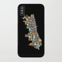 chicago map iPhone & iPod Cases featuring Chicago by BigRedSharks