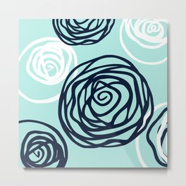 Floral Rose Modern Abstract Aqua Navy Metal Print
