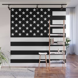 Black And White Stars And Stripes Wall Mural