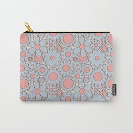 Groovy Daisy Floral in Baby Blue + Pink Carry-All Pouch