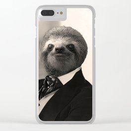 Gentleman Sloth with Authoritative Look Clear iPhone Case
