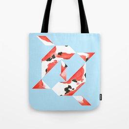 Tangram Koi - Blue background Tote Bag