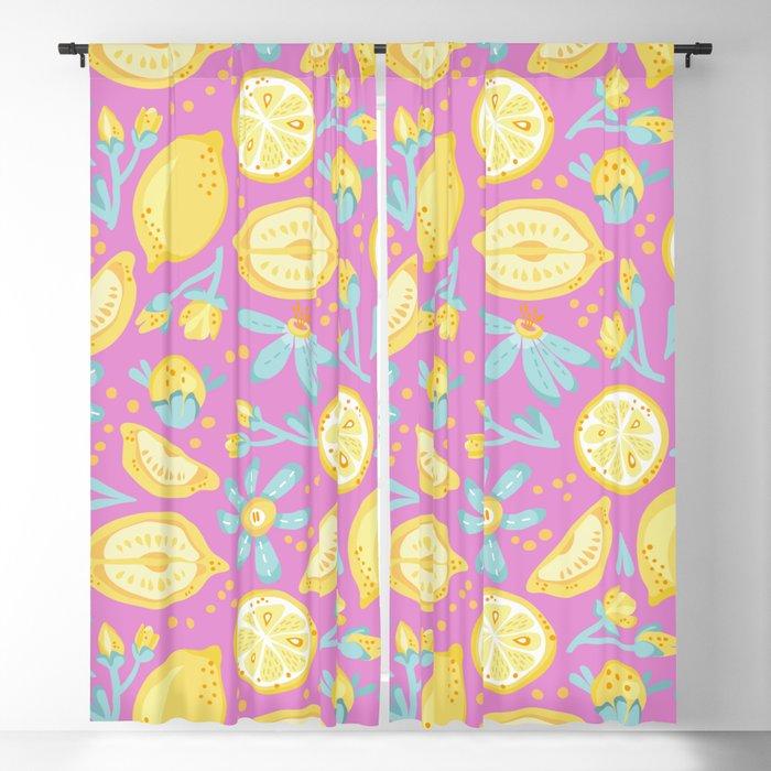 Lemon Pattern Pink Blackout Curtain