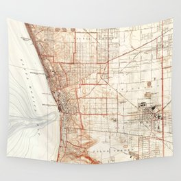 Vintage Map of Redondo Beach & Torrance CA (1934) Wall Tapestry