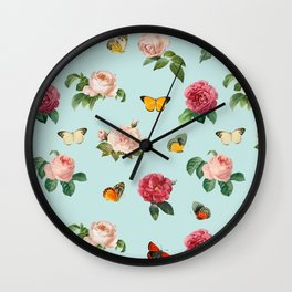 Las Rosas & Mariposas Wall Clock