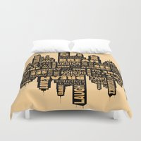 motivational Duvet Covers featuring Motivational by Andreea Red
