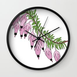 heather pink flower Wall Clock