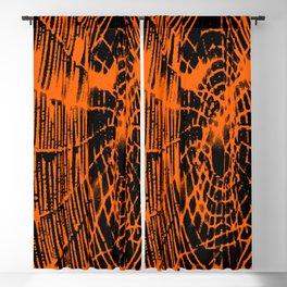 Intricate Halloween Spider Web Orange and Black Palette Blackout Curtain