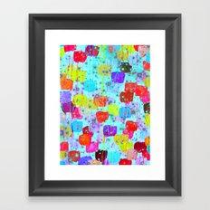 SPECKLE ME DOTTY - Bright Polka Dot Cheerful Aqua Turquoise Blue Rainbow Fine Art Abstract Painting Framed Art Print
