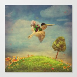 The little boy and brown pelican  in the sky Canvas Print