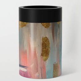 Gold Leaf & Indigo Blue Abstract Can Cooler