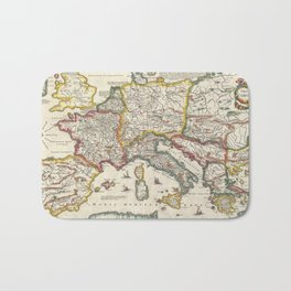 Vintage Map of Europe (1657) Bath Mat