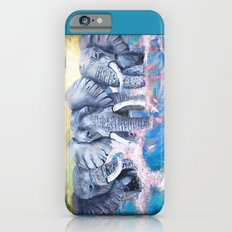 Elephants in crashing waves iPhone 6s Slim Case