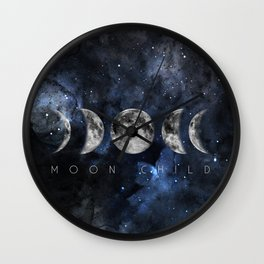 Moon Child Luna Watercolor Wall Clock