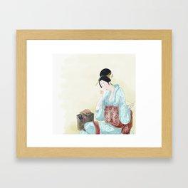 Woman Sewing Framed Art Print