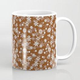 Festive Dark Toffee Brown and White Christmas Holiday Snowflakes Coffee Mug