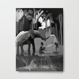 86 - Kerala Art- Elephant Bath… Metal Print